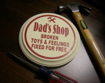 Image of Dad's Shop button - Broken Toys & Feelings Fixed for Free