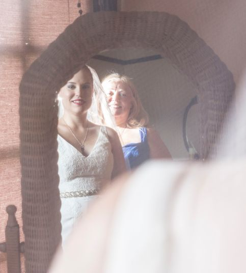 Image of Lyn & Sarah at Mirror on Wedding day