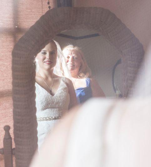 Image of Lyn & Sarah at Mirror on Wedding day