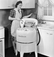 old washer with woman