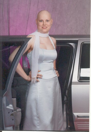 Image of Sarah's Cancer Pic - resplendent and glowing in Prom dress
