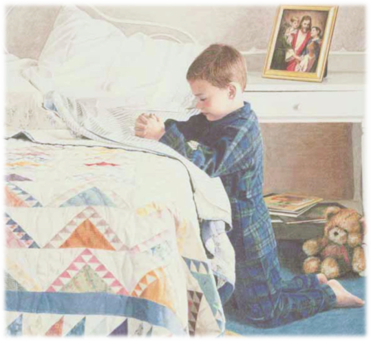 Image of Prayer-Boy kneeling at bed