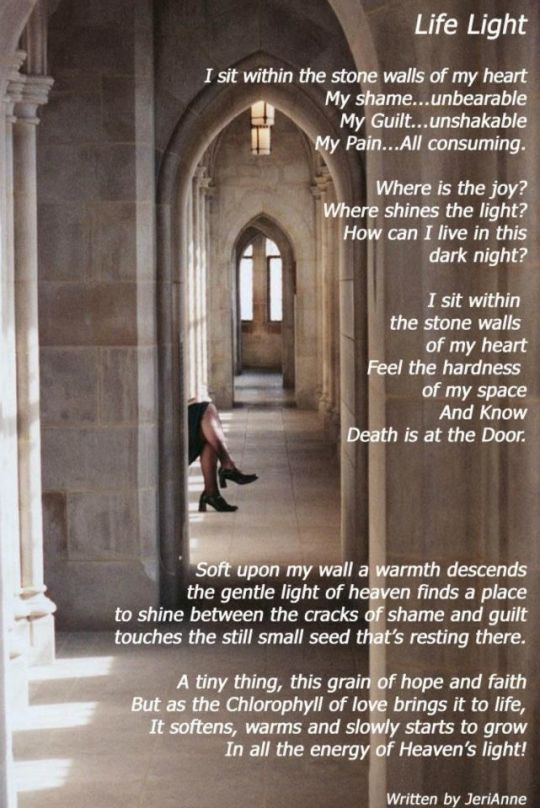 Jeri's LifeLight Postcard - poem on image of stone hall