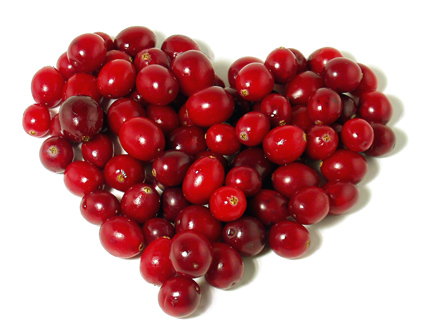 image of cranberries in heart shape